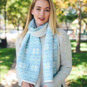 Fair Isle Snowflake Knit Scarf in Powder Blue